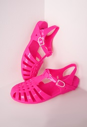 Missguided Flat Jelly Shoes Neon Pink Neon