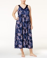 Alfani Plus Size Satin Trimmed V Neck Printed Nightgown Only At Macy's Navy Floral