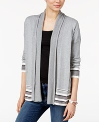 Tommy Hilfiger Striped Open Front Cardigan Only At Macy's Medium Grey Combo