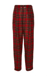 Rosetta Getty Japanese Tartan Pleat Front Trouser Red