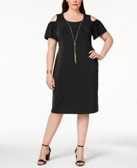 Jm Collection Plus Size Cold Shoulder Dress Created For Macy's Deep Black