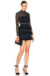 Self Portrait High Neck Star Lace Paneled Dress In Blue