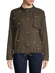 Lea And Viola Faux Pearl Embellished Cotton Jacket Olive