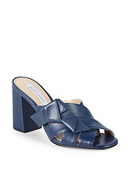 Saks Fifth Avenue Knotted Leather Mules Navy
