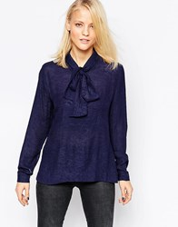 Minimum Long Sleeve Embossed Blouse With Pussy Bow Navy