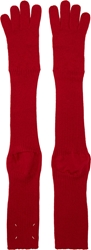 Maison Martin Margiela Red Overlong Knit Gloves