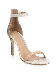 Joie Abbott Colorblock Snake Embossed Leather Sandals Parchment