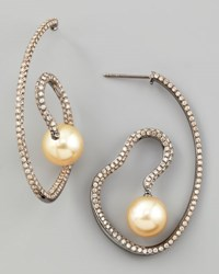 Golden Pearl And White Diamond Spiral Earrings