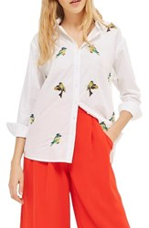 Topshop Women's Embroidered Bird Shirt White Multi