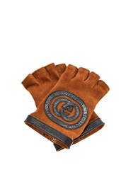 Gucci Suede And Leather Fingerless Gloves Brown
