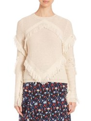 Tanya Taylor Cha Cha Fringe Sweater Midnight Cream