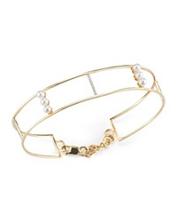 Mateo 14K Yellow Gold Cultured Freshwater Pearl And Diamond Line Cuff White Gold