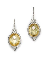 Judith Ripka Oval Stone Earrings Yellow Silver