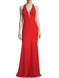 Rene Ruiz V Neck Mermaid Gown Red