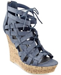 G By Guess Derby Lace Up Platform Wedge Sandals Women's Shoes