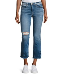 Frame Le High Rise Straight Raw Edge Faded Jeans Blue