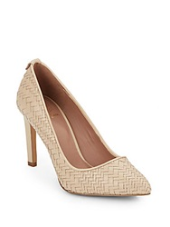 Elliott Lucca Woven Leather Point Toe Pumps Porcelain