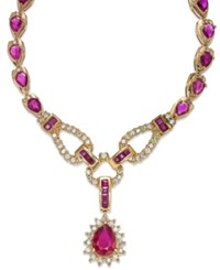 Macy's Ruby 11 3 8 Ct. T.W. And Diamond 1 1 10 Ct. T.W. Fancy Collar Necklace In 14K Gold Yellow Gold