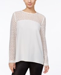 Kensie Crepe Lace Contrast Top French Vanilla