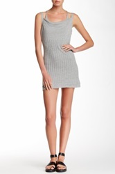 L.A.M.B. Double Layer Cami Sweater Dress Gray