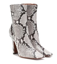 Vetements Snake Effect Leather Ankle Boots Grey