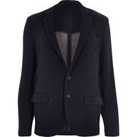 River Island Mens Navy Knitted Jersey Slim Blazer