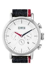 Men's Edwin Chrongraph Denim Strap Watch 46Mm