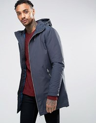 Pull And Bear Pullandbear Parka With Hood In Navy Navy Blue
