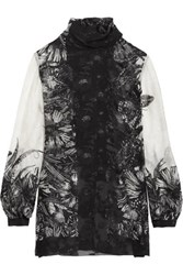 Anna Sui Butterfly Garden Printed Silk Blend Jacquard Blouse Black