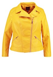 New Look Curves Faux Leather Jacket Dark Yellow