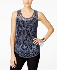 Inc International Concepts Tape Yarn Crochet Tank Top Only At Macy's Tonal Blue