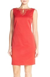Women's Ellen Tracy Textured Sheath Dress With Embellished Neckline