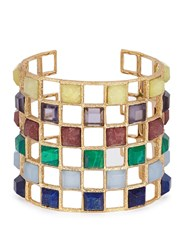 Isharya Abstract Mughal Lattice Gold Plated Bracelet Multicoloured
