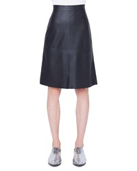 Akris Punto Knee Length Perforated Leather Skirt Black