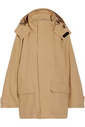 Balenciaga Hooded Cotton Blend Ripstop Parka Beige