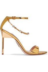 Miu Miu Embellished Mirrored Leather Sandals Gold