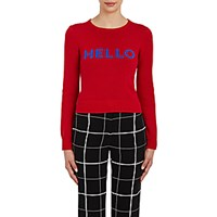 Lisa Perry Women's Intarsia Knit Hello And Goodbye Sweater Red