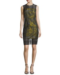 Carmen Marc Valvo Sleeveless Floral Jacquard Embroidered Organza Cocktail Dress Citrus