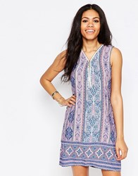 Daisy Street Dress In Scarf Print With Zip Front Multi