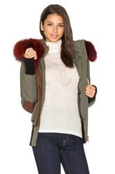 Nicole Benisti Fordham Silver Fox And Asiatic Rabbit Fur Lined Parka Army