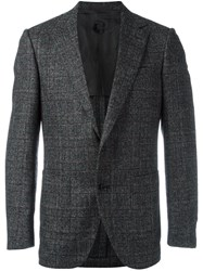 Caruso Notched Lapel Plaid Blazer Black