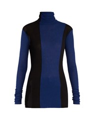 Haider Ackermann Fugazi Striped Roll Neck Sweater Black Blue
