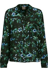 Haute Hippie To Jj With Love Floral Print Silk Crepe De Chine Blouse Multi