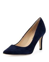 Neiman Marcus Cissy Pointed Toe Suede Pump Navy