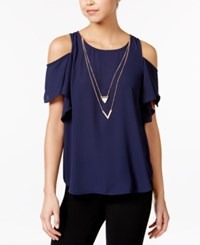 Amy Byer Bcx Juniors' Ruffle Sleeve Cold Shoulder Top With Necklace Navy