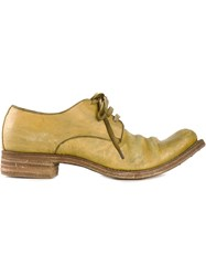 A Diciannoveventitre Distressed Derby Shoes Yellow And Orange