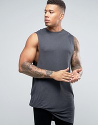 Asos Super Longline Sleeveless T Shirt In Bamboo Fabric With Hitched Hem Grey