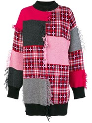Msgm Patch Work Plaid Sweater Pink And Purple