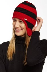Hunter Original Striped Ear Flap Wool Beanie Red