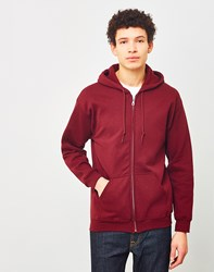 The Idle Man Perfect Zip Through Hoodie Burgundy